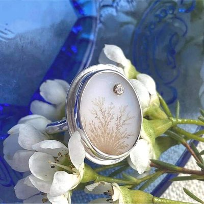 Dendritic Agate Ring with white sapphire accent