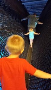 3 and 4 year olds, walking across Shark Bridge like it isn't a big deal!