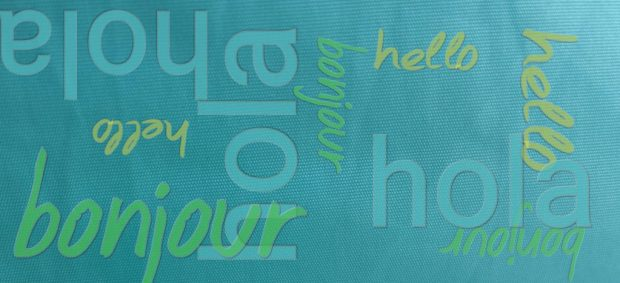 Hello. Bonjour. Hola. Those words are repeated in different colors and directions on a teal background.Would you move abroad?