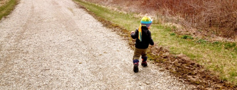 Picture of little boy in a coat and hat, walking on a path in the fall.