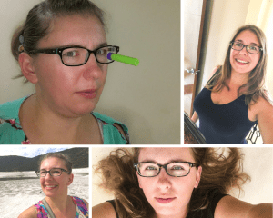 first picture: is of a woman wearing glasses with her hair pulled back. There is a nerf dart with a suction cup stuck on one side of her glasses. Picture 2: the same woman, hair down and styled with a big smile. Picture three: same woman, hair pulled back, smiling with a white crater and mountain behind her. Picture four: same woman, laying down with her light brown hair laying haphazardly laying around above her head. She looks neither happy nor unhappy in this picture, though the look does lean toward melancholy. These pictures and emotions are all part of my journey.