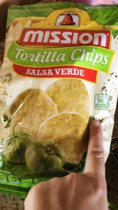 """a bag of tortilla chips, """"salsa verde"""" flavor and a without gluten label in spanish. Learning Spanish is hard, but I know a few basics."""