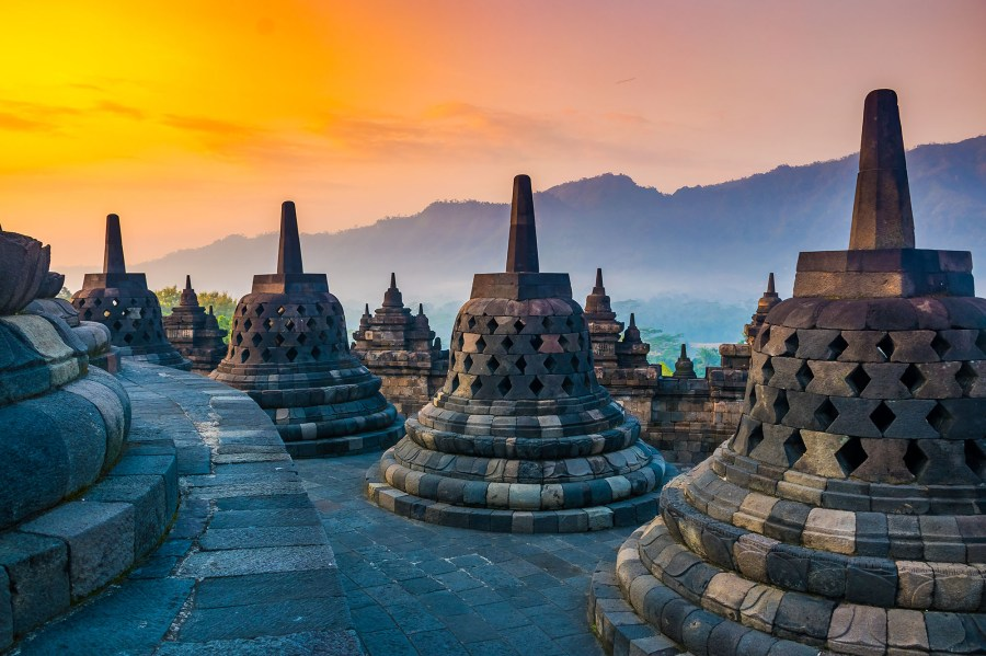 Sunrise Landscape of Buddhist temple complex Borobudur, Yogyakarta, Jawa in Indonesia