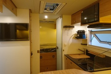 Interior of our Bliss Mobil 15-foot expedition camper.
