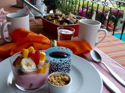 Breakfast on a balcony overlooking Lake Chapala.
