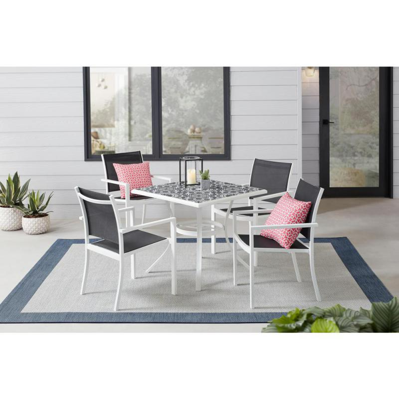 stylewell marivaux black and white 5 piece steel outdoor patio dining set with tile top table and black sling chairs