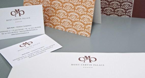 Mont Cervin Palace Visitenkarte und Kurzbrief im neuen CD by Werbeagentur Bern - Blitz & Donner