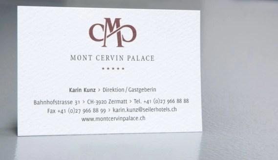 Mont Cervin Palace Visitenkarte im neuen CD by Werbeagentur Bern - Blitz & Donner
