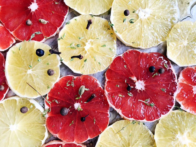 Orange And Grapefruit Slices With Spices
