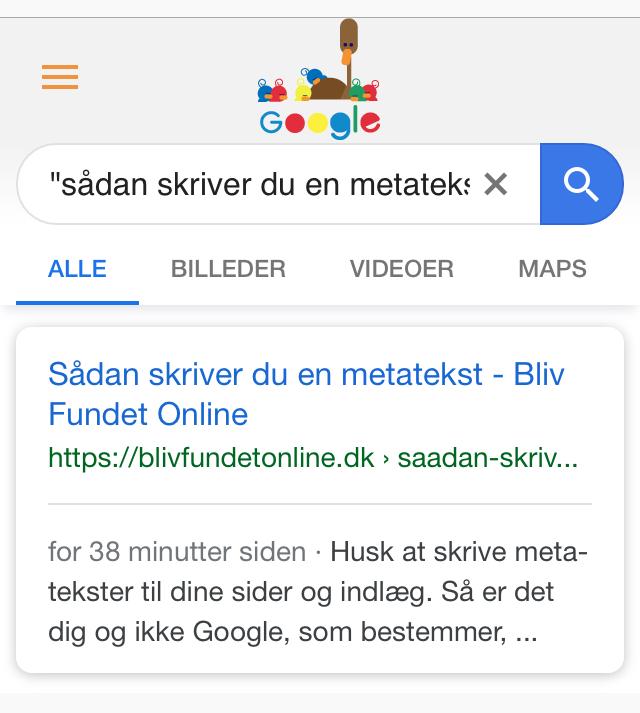 metatekst fra indlæg vist på Google på en mobil