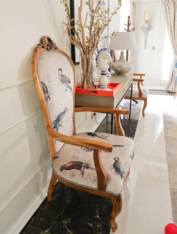 Chair with bird pattern