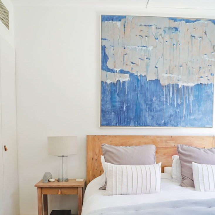Artwork by Thai artist, hanging over bed