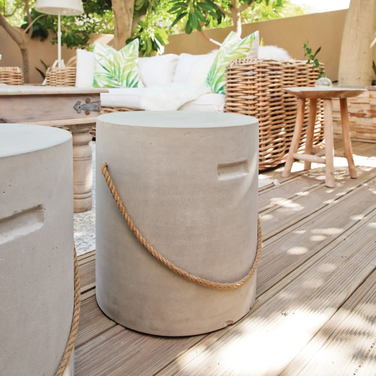 Jamie Olivers wood fire oven formDubai Garden Centre, Concrete stools from JYSK