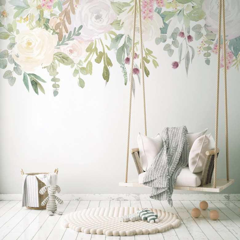 A swinging chair in a room with Floral Waterfall wall design
