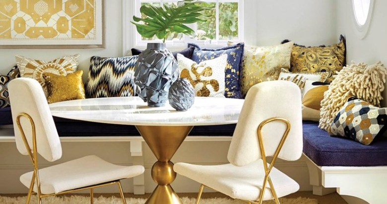 Jonathan Adler Dining Caracas dining table Maxime dining chair in stone linenPuzzle chandelier Portrait