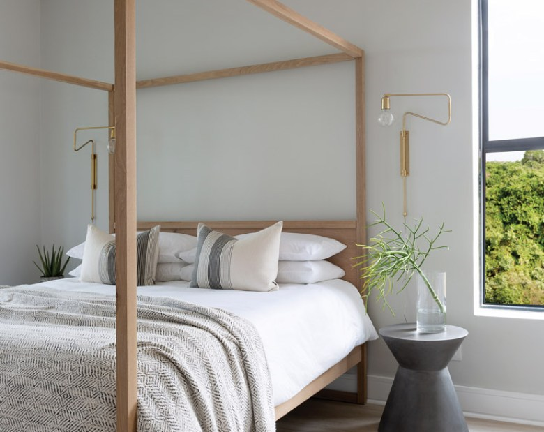 Kathryn Hawkes bedroom with framed bed