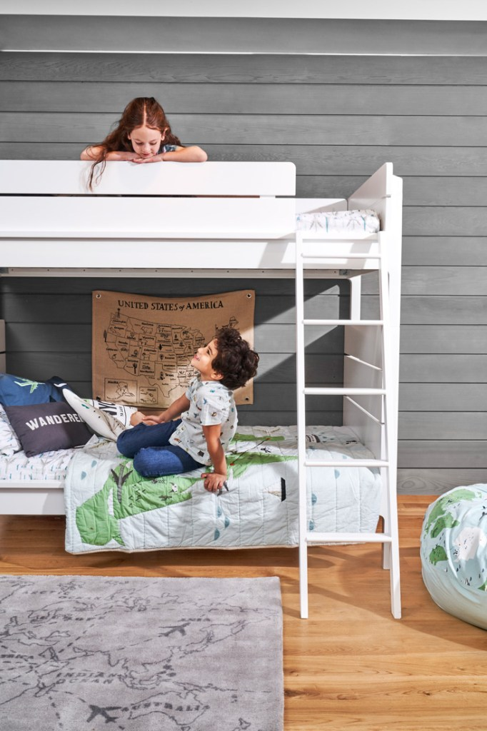 Crate and Kids white wooden bunkbeds