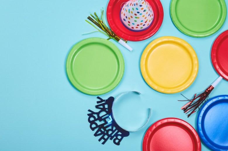 happy birthday party decor plastic plates
