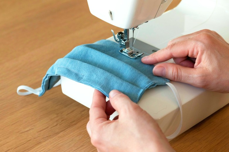sewing machine homemade face mask blue