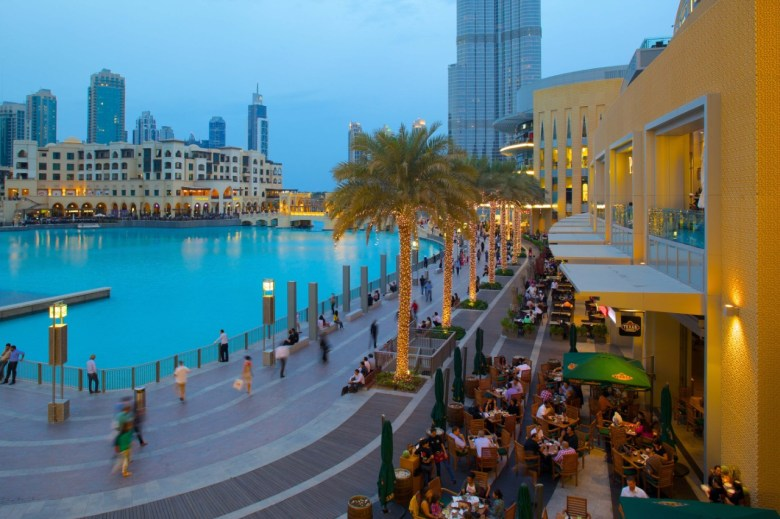 The Dubai Mall, outside seating overlooking water