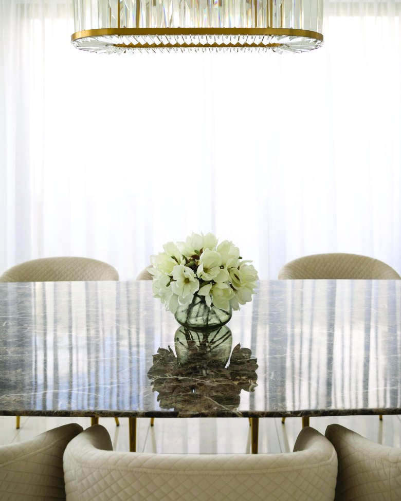 White flowers on a marble table