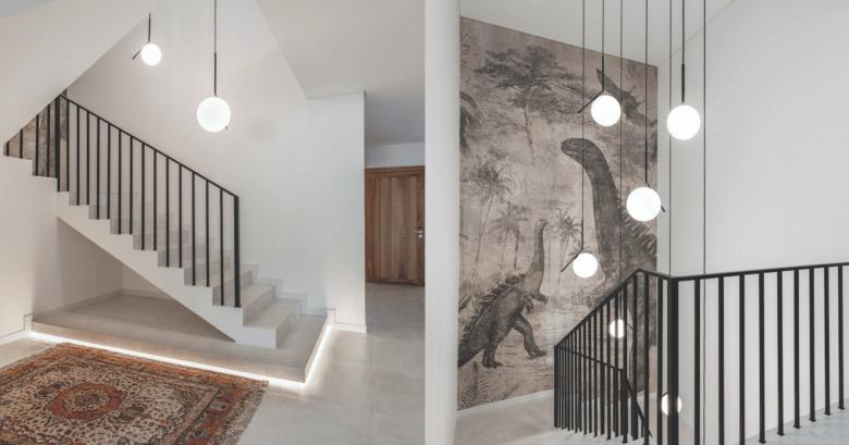 Dinosaur wallpaper staircase