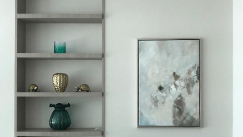 Artwork by shelves