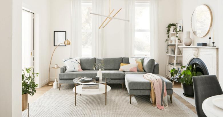 West Elm grey sofa