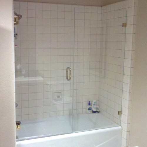 Inline With Tub And Brass By Blizzard Frameless Showers