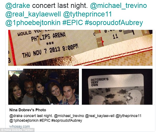 Always so supportive: In 2013, the actress tweeted that she went to a Drake concert with her Vampire Diaries cast mates, adding the hashtag '#SoProudOfAubrey'