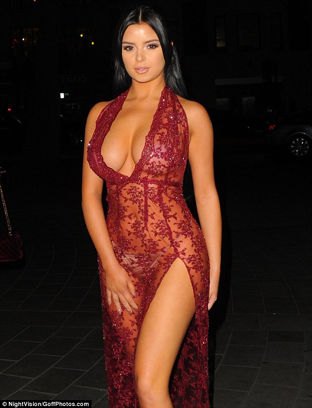 Revealing:The model - who was rumoured to have had a fling with rapper Tyga during his break from Kylie Jenner - smouldered in a sheer scarlet gown which boasted a racy thigh-split