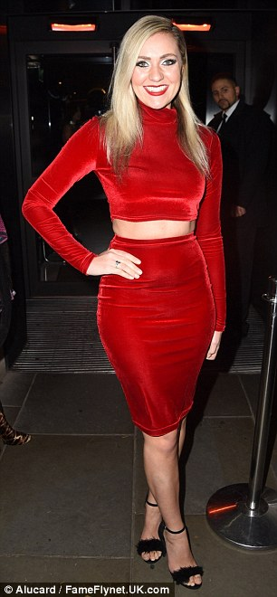Lady in red: Singer Larissa Eddie wowed in a red two-piece as she arrived at the exclusive bash