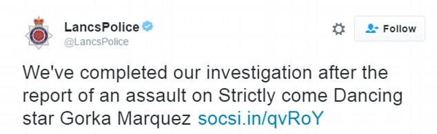 Completed: Lancashire Police tweeted this message after closing their investigation into the claims