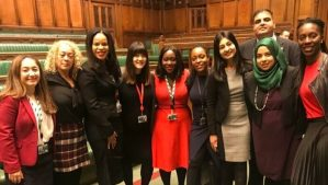 Ten Black, Asian and/or minority ethnic members of the Parliamentary Labour Party gather for a photograph in the House of Commons chamber