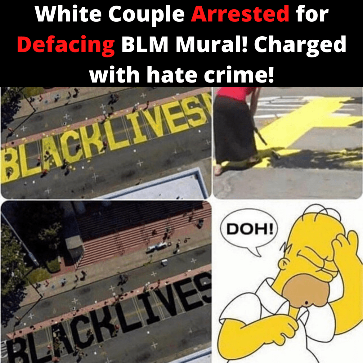 White Couple Arrested for Defacing BLM Mural