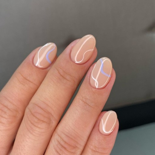 Spring Manicure: Fine Lines - Nude nails with fine swirls