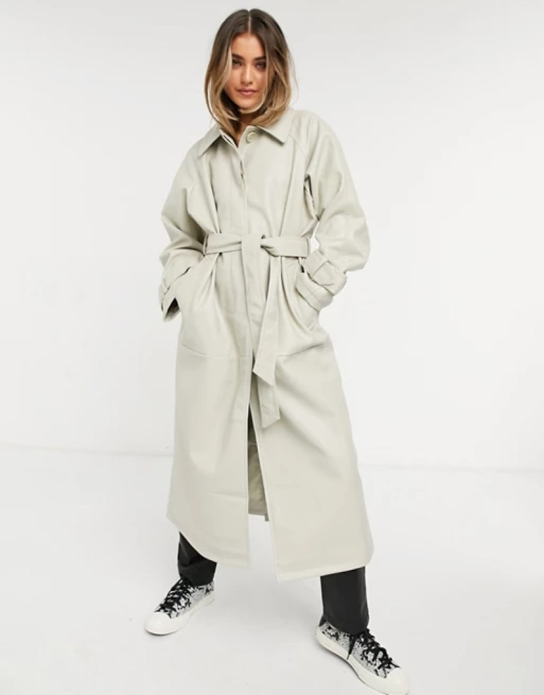 ASOS DESIGN Collared Faux Leather Trench Coat - Putty
