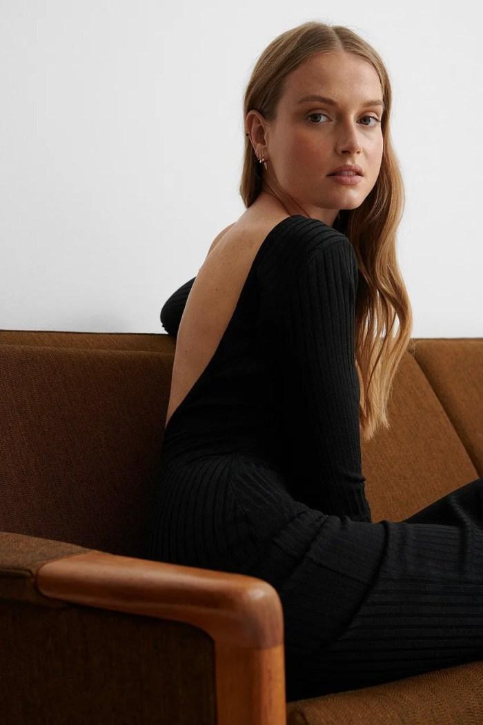 NA-KD Deep Back Rib Midi Dress - Black
