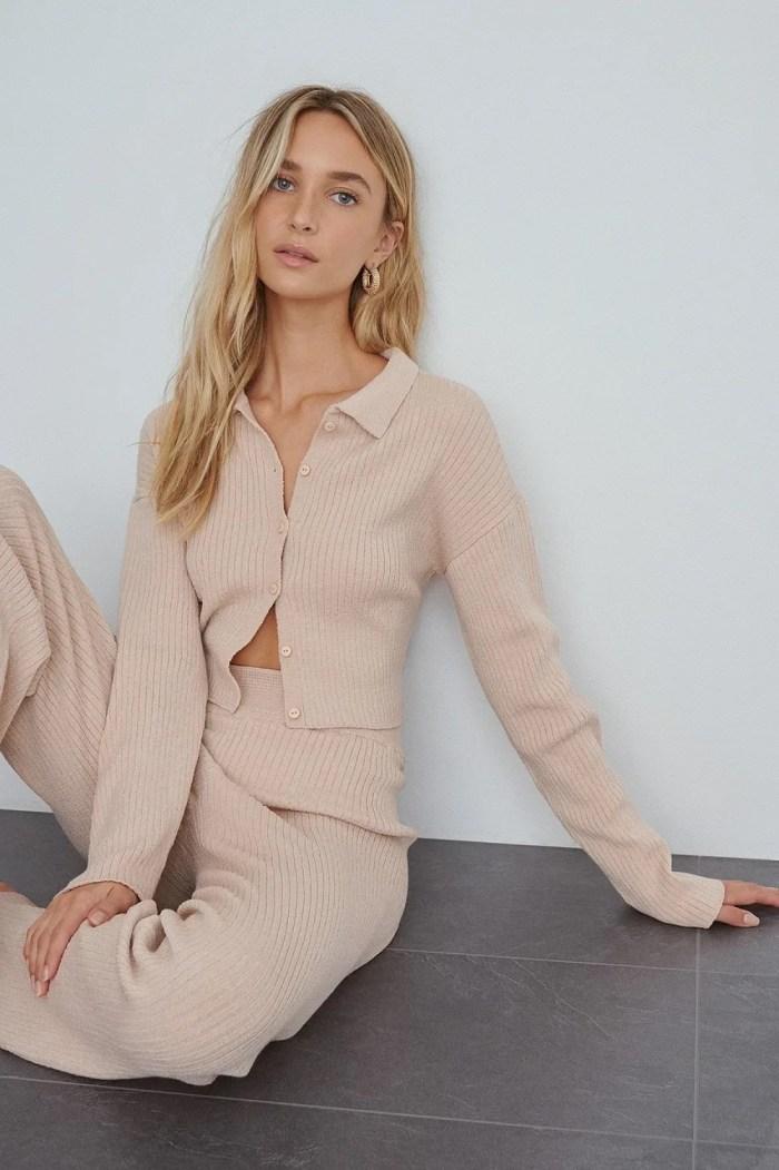 NA-KD Soft Ribbed Cardigan - Pink