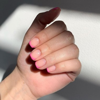 Hot Pink Micro French Tips by The Nail Lounge Ipswich