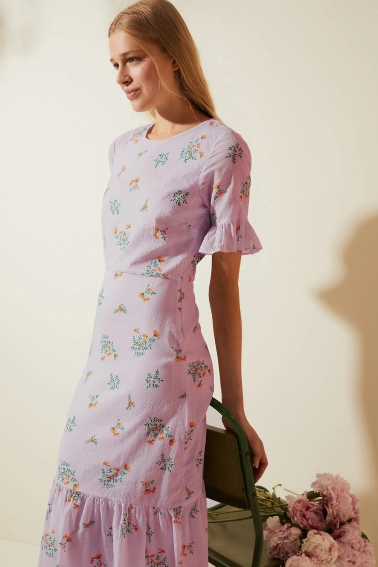 M&S X Ghost Pure Cotton Floral Frill Sleeve Midi Dress