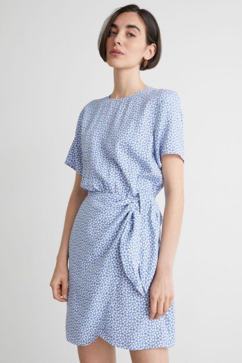 & Other Stories Knot Detail Mini Dress