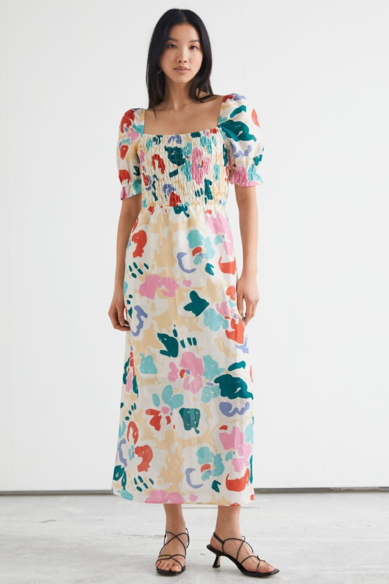 & Other Stories Printed Puff Sleeve Midi Dress