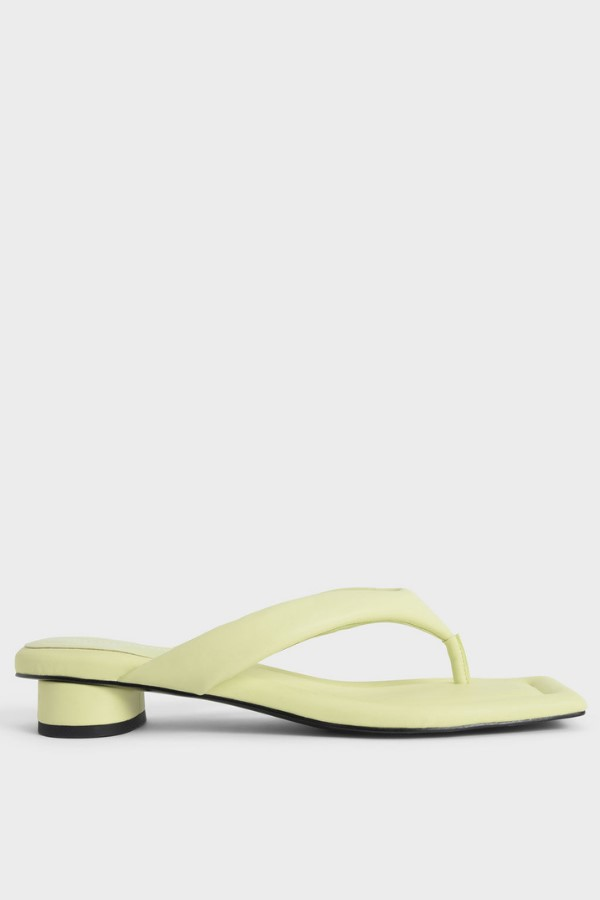 Charles & Keith Padded Thong Sandals - Yellow