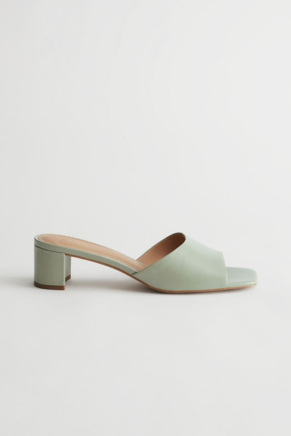 & Other Stories Leather Square Toe Sandals in Green
