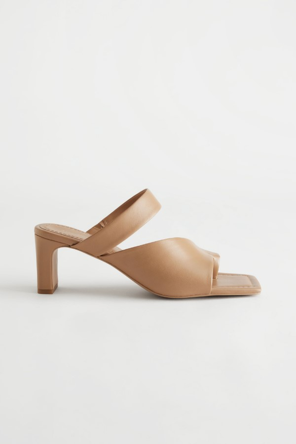& Other Stories Square Toe Heeled Leather Sandals