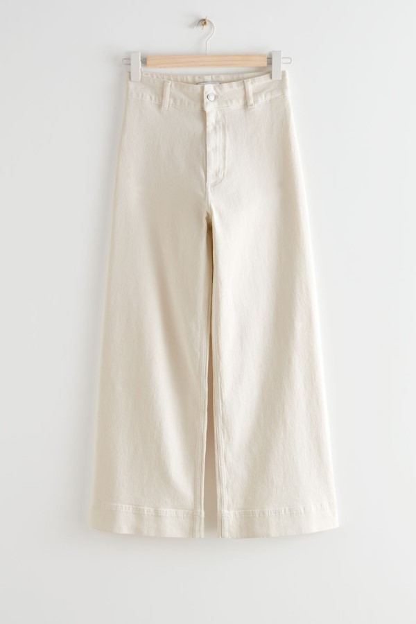 Shop the & Other Stories Wide Cropped Jeans - Ecru