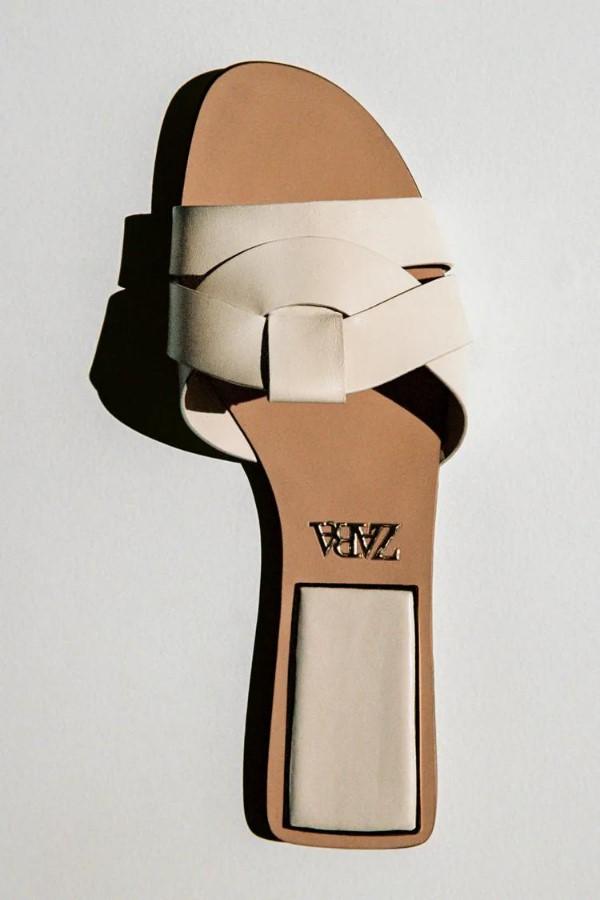 ZARA Flat Leather Criss-Cross Strap Sandals