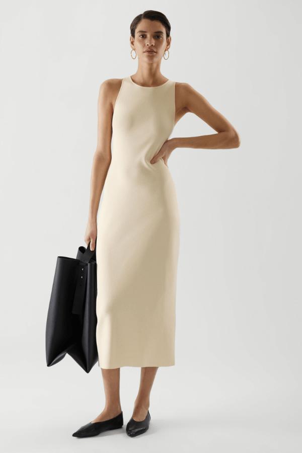 COS Midi Tube Dress in Light Beige
