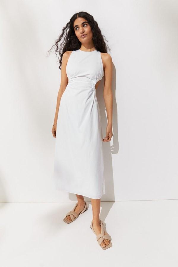 H&M White Cut-Out Dress